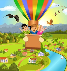 children flying with balloon vector image