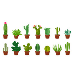 horizontal banner set of desert room green cactus vector image vector image