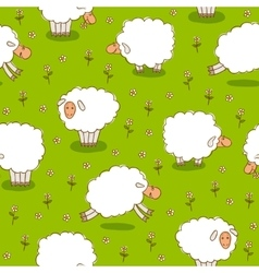 White Sheep Grazing On a Green Meadow vector image vector image
