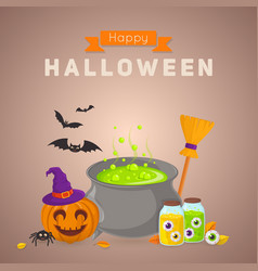 Witch potion and ingredients vector