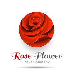Beautiful Contour Red Logo with Rose Flower for vector image vector image