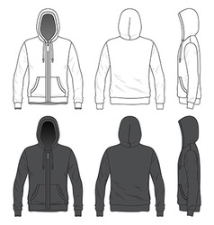 Front back and side views of blank hoodie with vector image vector image
