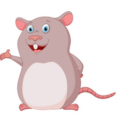 happy mouse cartoon presenting vector image