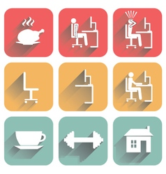 Icons of objects of daily routine and office vector image