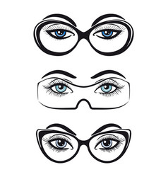 Female eyes with glasses set vector
