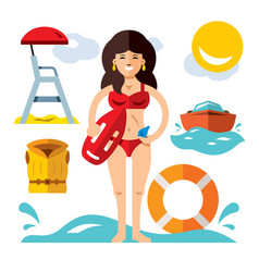 lifeguard flat style colorful cartoon vector image vector image