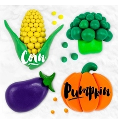 Plasticine vegetables pumpkin vector image vector image