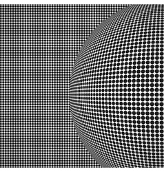 Radial halftone background with sphere vector