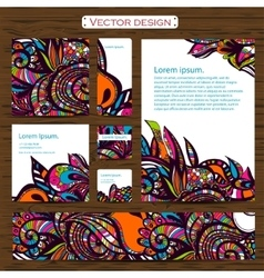 Set of 7 doddle ornamental business cards on a vector image vector image