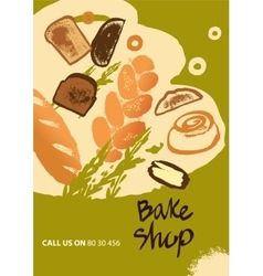 Set of of bread and roll for menu vector image