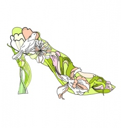 shoes with decorative flowers vector image vector image