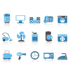 blue color series home devices icon set vector image vector image