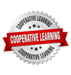 cooperative learning round isolated silver badge vector image vector image