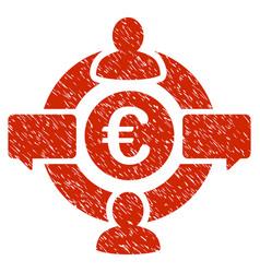 euro social network icon grunge watermark vector image