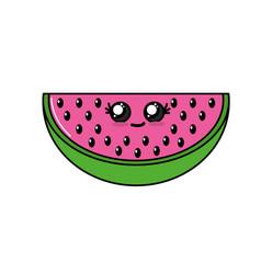 kawaii cute happy wotermelon slice fruit vector image