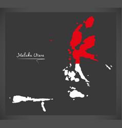 maluku utara indonesia map with indonesian vector image vector image