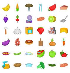 menu icons set cartoon style vector image vector image