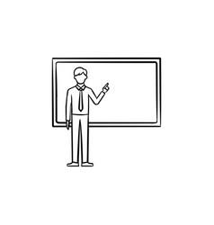 professor next to the blackboard hand drawn icon vector image
