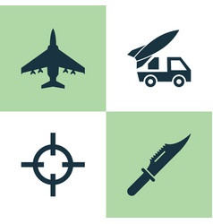 warfare icons set collection of aircraft cutter vector image