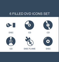 6 dvd icons vector