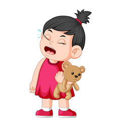 a girl crying while holding a brown teddy bear vector image