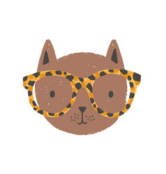 adorable face or head cat wearing glasses vector image