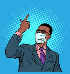 African businessman in a medical mask coronavirus vector