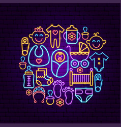 baby shower neon concept vector image