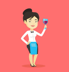 bartender holding a glass of wine in hand vector image