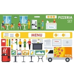 Big detailed Pizzeria Interior flat icons set vector image