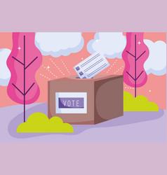 box with ballot politics election democracy voting vector image