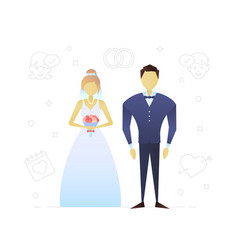 bride and fiance flat character design vector image