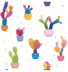 Bright colorful cacti plant cactus flower pattern vector
