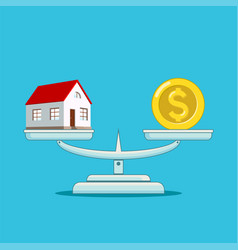 building a house and dollar coin on scales vector image