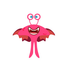 cartoon flat happy monsters pink icon colorful vector image