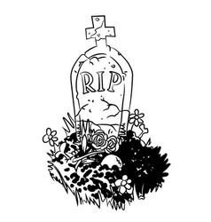 cartoon image of grave vector image