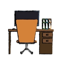 cartoon workplace office space equipment design vector image