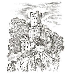 Castle on a hill ancient landscape for label vector
