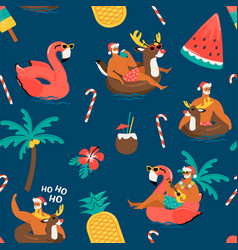 Christmas seamless pattern with cute funny santa vector