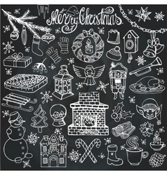 Christmas season doodle iconssymbolsChalk vector