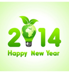 Creative new year with eco earth bulb2014 vector image