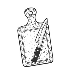 Cutting board and knife sketch vector