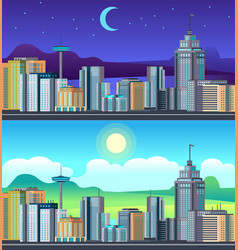 day night cityscape buildings city office center vector image