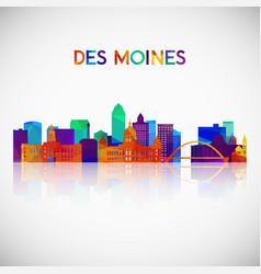 des moines skyline silhouette vector image