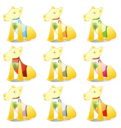 dogs in pet clothing set vector image