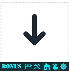 Down arrow icon flat vector image