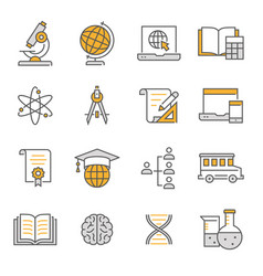 Education flat line icon set vector