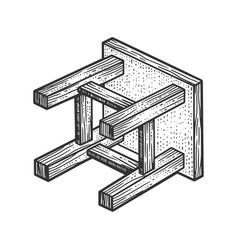 fallen stool sketch vector image