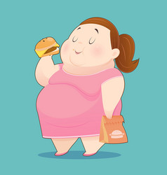 Fat woman is enjoy eating many junk foods vector