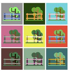 Flat icons set fenced tree vector